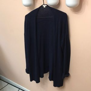 Navy blue wool-like soft cardigan.